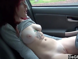 Busty, Car, Flashing, Outdoor, Public, Redheads, Solo, Tattoo, Teens