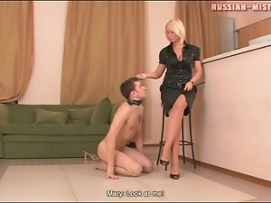 High heels, Leashed, Submissive, Trampling