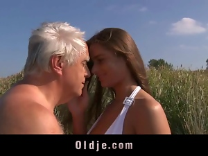 Beach, Big tits, Busty, Fucking, Grandpa, Old man, Teens, Young