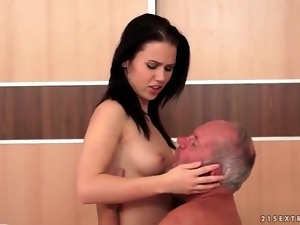 Brunettes, Dick, Grandpa, Old and young, Sexy, Small tits, Sucking, Teens