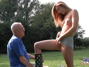 Blondes, Cleaner, Fucking, Old, Old man, Outdoor