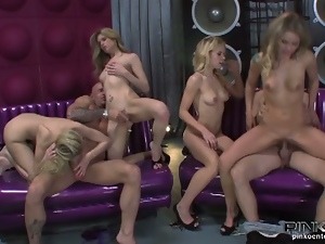 Big cock, Blondes, Blowjob, Cowgirl, Deepthroat, Gagging, Group orgy, Group sex, Hardcore, High heels, Italian, Petite, Small tits, Twins