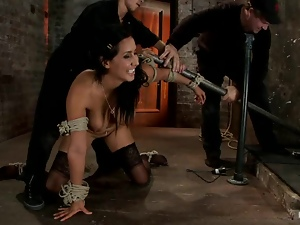 Bar, Bdsm, Bondage, Brunettes, Humiliation, Slave, Stockings, Tied up, Torture