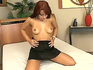 Cunt, Erotic, Fingering, Miniskirt, Natural boobs, Sex toys, Shaved, Tattoo