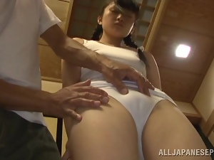Asian, Brunettes, Couple, Dick, Fingering, Hardcore, Japanese, Panties, Pigtail, Riding, Sex toys, Small tits, Vibrator