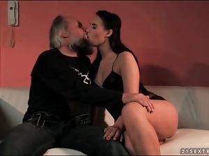 Beautiful, Dick, Erotic, Grandpa, Lingerie, Old and young, Sucking, Young