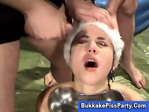 Brunettes, Bukkake, Cum, Cum eating, Cum swallowing, Cumshots, Facials, Group sex, Party, Xmas