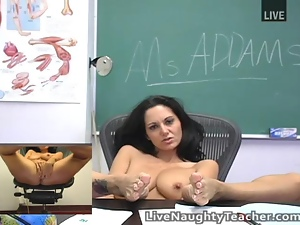 Big tits, Brunettes, Busty, Classroom, Cute, Live cam, Masturbating, Schoolgirl uniform, Sex toys, Stockings, Strip, Teacher, Uniform