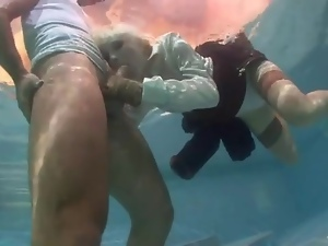 Blondes, Blowjob, Chick, Dick, Stockings, Sucking, Underwater