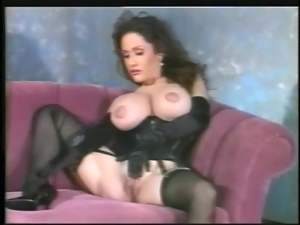 Big tits, Black, Busty, Gloves, Lingerie, Satin, Solo