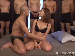 Asian, Bra, Bukkake, Cum, Dick, Fucking, Gangbang, Japanese, Panties, Short hair