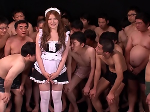 Asian, Bukkake, Dick, Gangbang, Japanese, Long hair, Maid, Milf, Stockings, Sucking