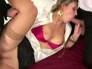 Blondes, Classy, Clothed sex, Double penetration, European, Fetish, Glamour, Satin, Threesome