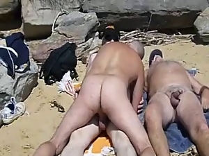 3some, Beach, Gay, Group sex
