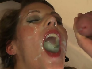 Blowbang, Blowjob, Brunettes, Bukkake, Cum covered, Cum in mouth, Cumshots, Deepthroat, European, Face fucked, Facials, Gagging, Gangbang, Messy facials