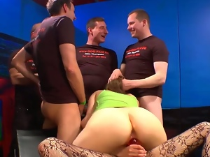 Bukkake, Cowgirl, Cum covered, Cum in mouth, Cum swallowing, Cum swapping, Cumshots, Dildo, European, Facials, Gangbang, German, Group orgy, Hardcore, Huge dildo, Sex toys, Strapon